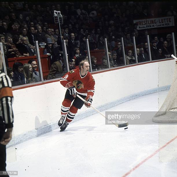 Bobby Hull of the Chicago Blackhawks controls the puck.