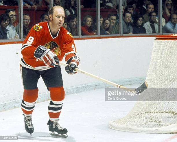 Bobby Hull of the Chicago Blackhawks skates against the Montreal Canadiens in the 1970's at the Montreal Forum in Montreal, Quebec, Canada.