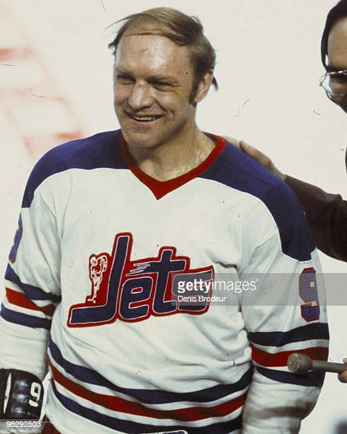 Bobby Hull of the Winnipeg Jets skates against the Montreal Canadiens in the 1970's at the Montreal Forum in Montreal, Quebec, Canada.