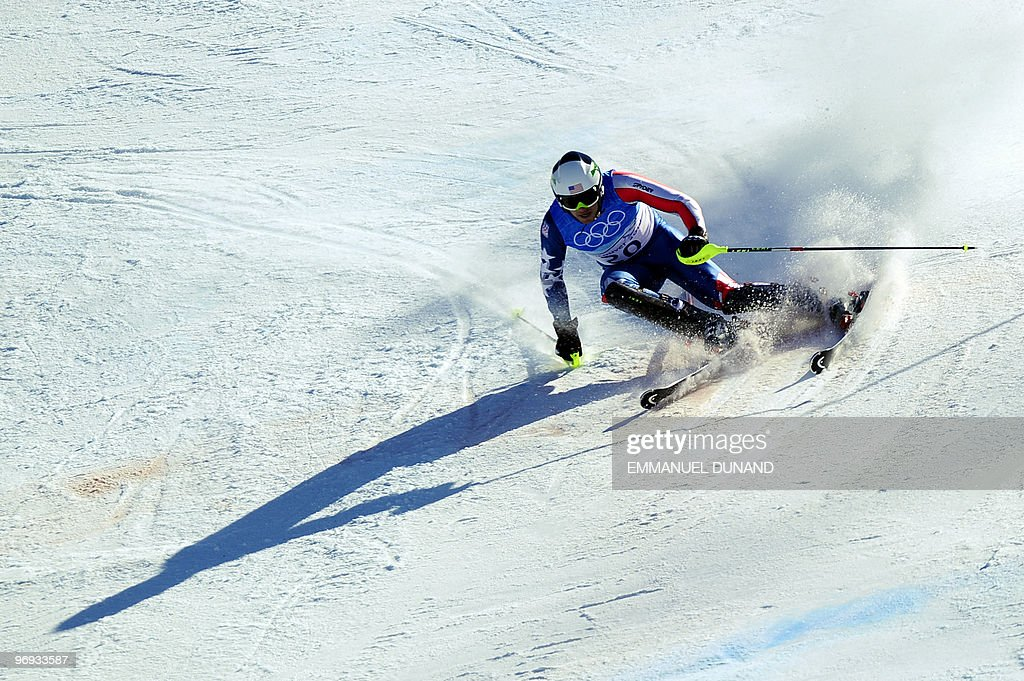 USA's Bode Miller clears a gate during the Men's Vancouver 2010 Winter Olympics Super Combined event at Whistler Creek side Alpine skiing venue on February 21, 2010.