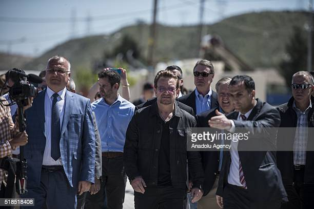 U2's Bono visits a tent city of Syrian refugees in Nizip district of Turkey's Gaziantep province on April 01 2016
