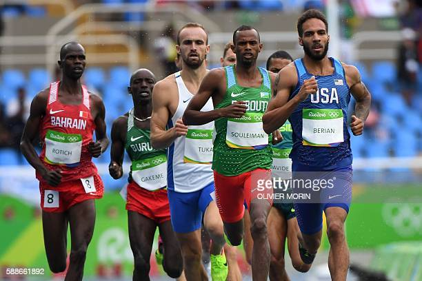 USA's Boris Berian Djibouti's Ayanleh Souleiman and BosniaHerzegovina's Amel Tuka compete in the Men's 800m Round 1 heat during the athletics event...