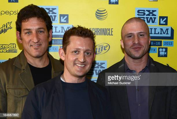 VH1's Brad Abramson actor Alex Winter and actor Shawn Fanning attend the World Premiere of 'Downloaded' during the 2013 SXSW Music Film Interactive...