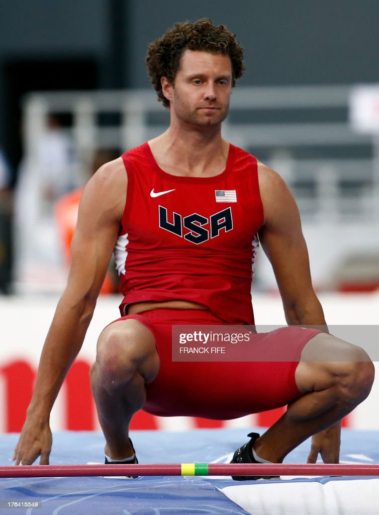 US's Brad Walker attends the men's pole vault final at the 2013 IAAF World Championships at the Luzhniki stadium in Moscow on August 12, 2013.