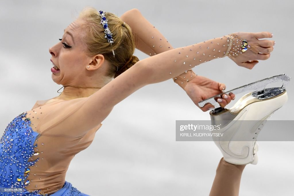 TOPSHOT - USA's Bradie Tennell competes in the women's single skating free skating of the figure skating event during the Pyeongchang 2018 Winter Olympic Games at the Gangneung Ice Arena in Gangneung on February 23, 2018. / AFP PHOTO / Kirill KUDRYAVTSEV