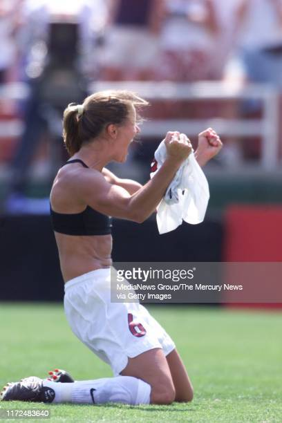 S WORLD CUP FINAL US's Brandi Chastain takes off her shirt after scoring in shoot out to win in WWC final against China 7/10/99