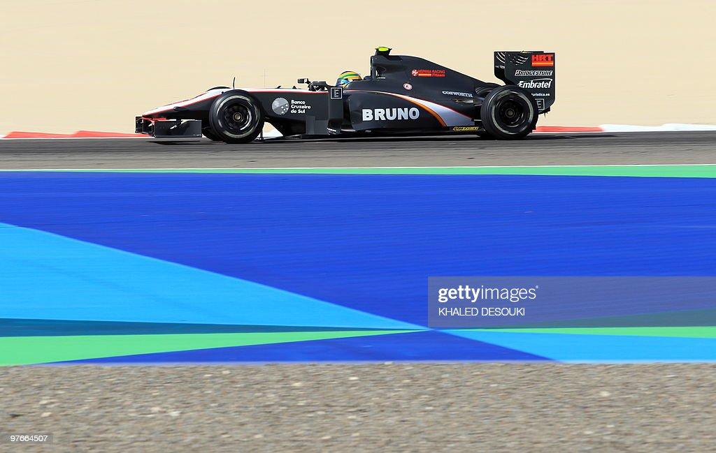 HRT F1's Brazilian driver Bruno Senna dr : News Photo