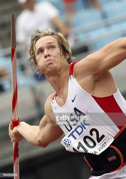 USA's Breaux Greer competes during the men's javelin throw qualifications 31 August 2007 at the 11th IAAF World Athletics Championships in Osaka AFP...