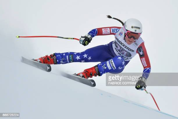 USA's Breezy Johnson competes in the Ladies' SuperG race during the FIS Alpine Skiing World Cup in St Moritz on December 9 2017 PHOTO / Fabrice...