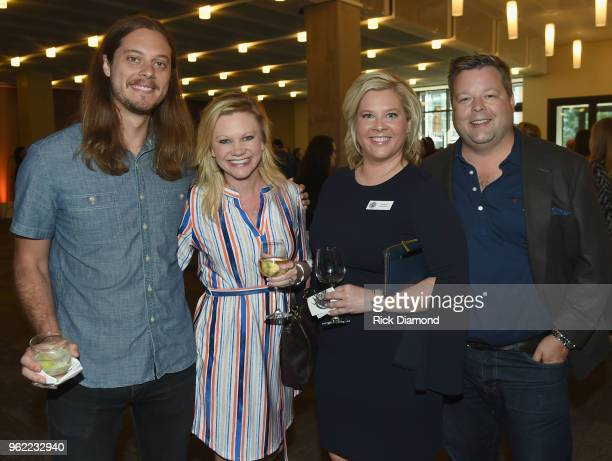CMA's Brenden Oliver CMA's Brandi Simms CMHOF's Kayla Ott and BMI's Bradley Collins attend the CMHOF Outlaws and Armadillos VIP Opening Reception on...