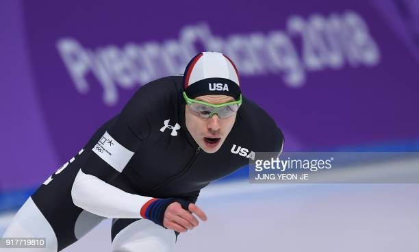 USA's Brian Hansen competes in the men's 1500m speed skating event during the Pyeongchang 2018 Winter Olympic Games at the Gangneung Oval in...