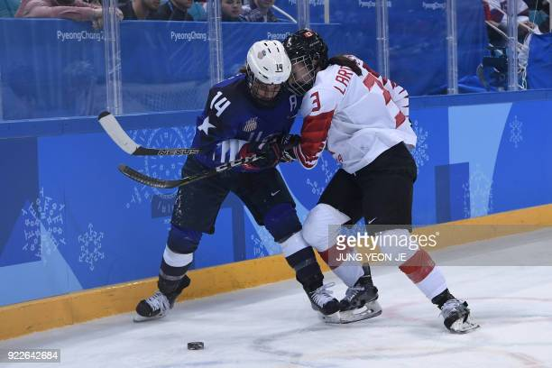 USA's Brianna Decker and Canada's Jocelyne Larocque fight for the puck in the women's gold medal ice hockey match between the US and Canada during...