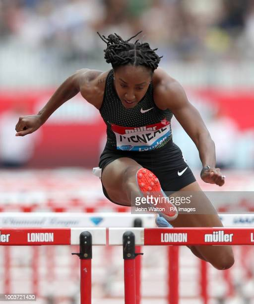 USA's Brianna McNeal in action during the Women's 100m hurdles during day two of the Muller Anniversary Games at The Queen Elizabeth Stadium London