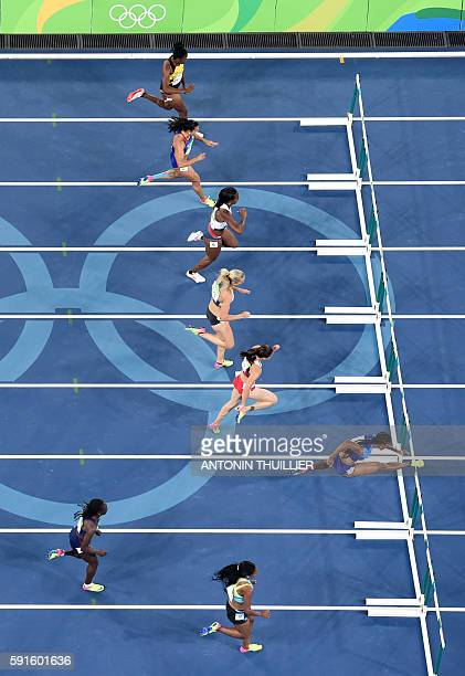 S Brianna Rollins leads the field in the Women's 100m Hurdles Semifinal during the athletics event at the Rio 2016 Olympic Games at the Olympic...