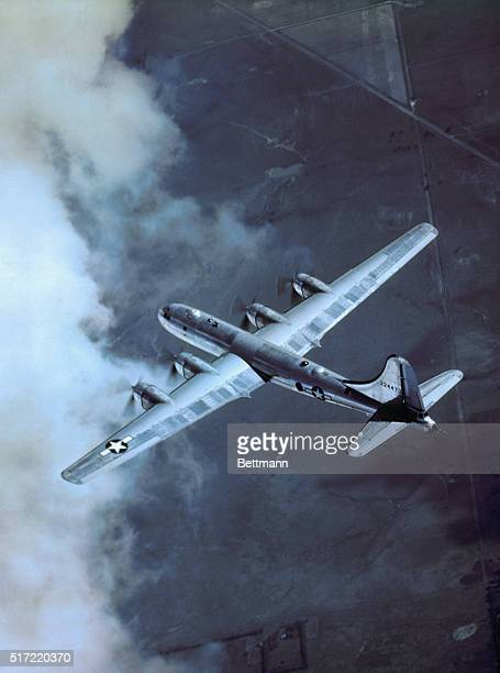 B29's bring new era in air war Like a huge bird this B29 superfortress of the 20th bomber command wings through the air seeking its prey Japanese...