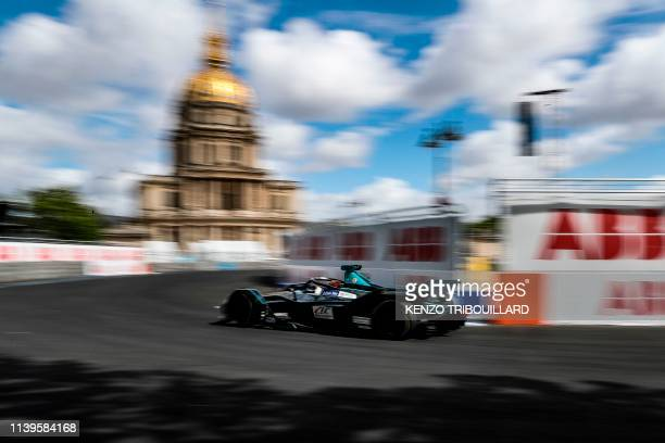 AG's british driver Gary Paffett steers his car during the practice session of the ParisPrix leg of the Formula E season 20182019 electric car...