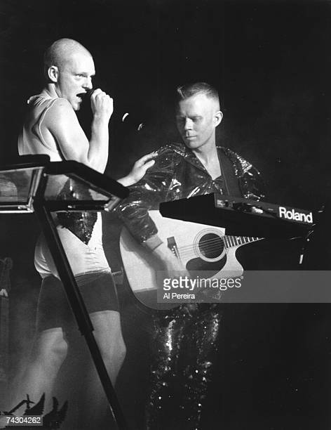 LATE 1980's British technosoul duo 'Erasure' perform in New York City New York in the late 1980's Vocalist and lyricist Andy Bell is on the right...