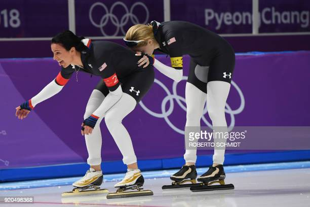 USA's Brittany Bowe and USA's Mia Manganello compete in the women's team pursuit quarterfinal speed skating event during the Pyeongchang 2018 Winter...
