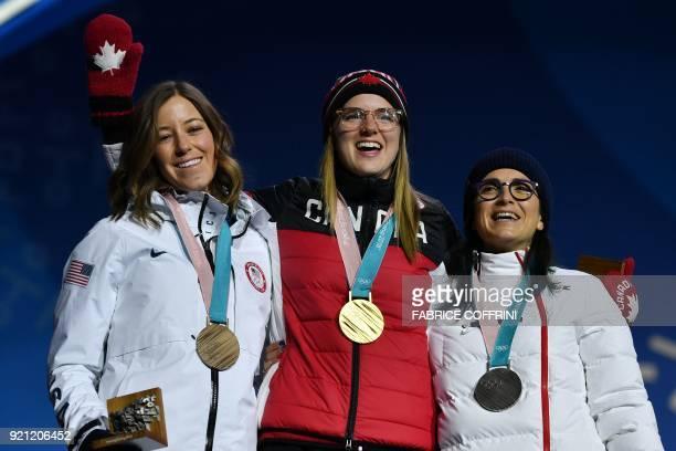 TOPSHOT USA's bronze medallist Brita Sigourney Canada's gold medallist Cassie Sharpe and France's silver medallist Marie Martinod pose on the podium...