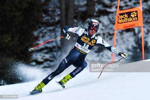 USA's Bryce Bennett competes in the FIS Alpine World Cup Men Downhill on December 15 2018 in Val Gardena Groeden Italian Alps