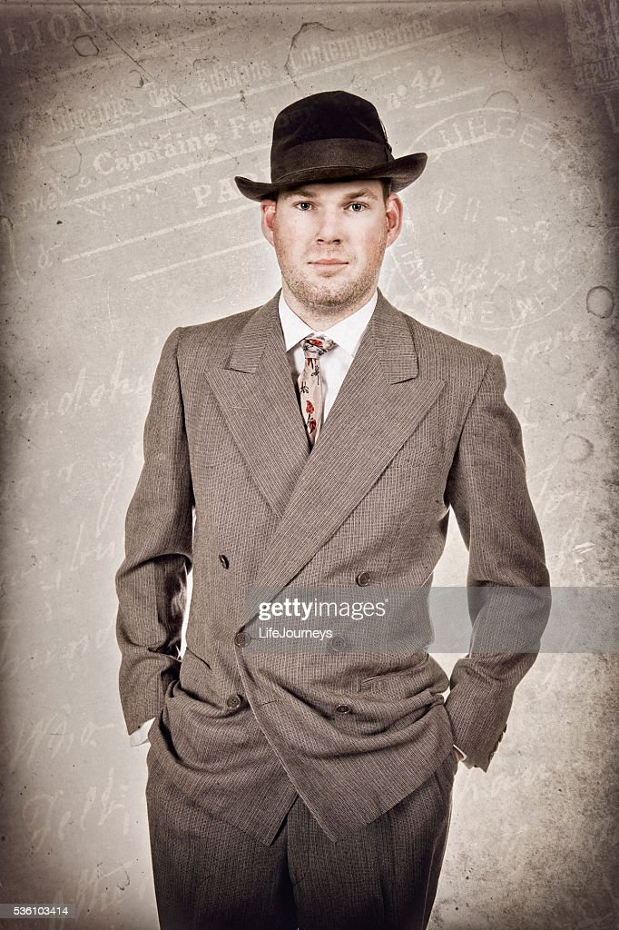 1940's Business Man In Suit Hat and Tie : Stock Photo