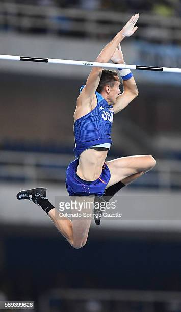 USA's Cale Simmons clears the bar during Pole Vault qualifying at the Summer Olympics in Rio de Janeiro Brazil on Saturday Aug 13 2016