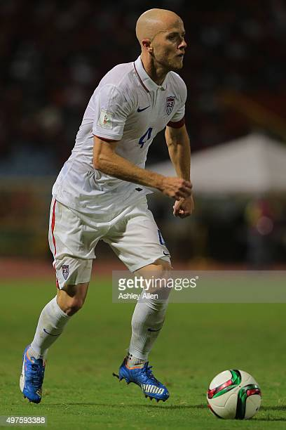 USA's captain Michael Bradley prepares to pass to a teammate during a World Cup Qualifier between Trinidad and Tobago and USA as part of the FIFA...