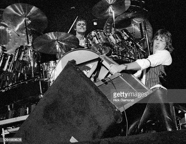 S Carl Palmer and Keith Emerson of Emerson, Lake and Palmer perform at The OMNI Coliseum in Atlanta Georgia June 23,1977