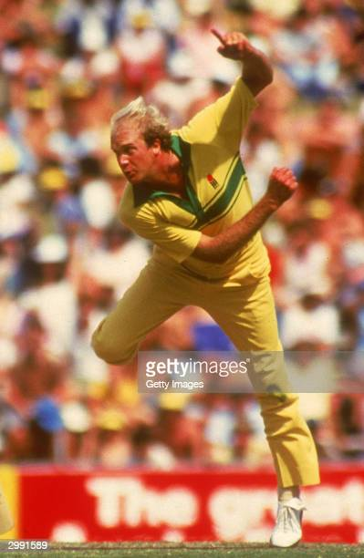 Carl Rackemann of Australia in action during a One Day International cricket match held in Australia during the 1980's.
