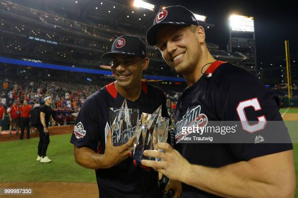 MVP's Carlos Pena and Mike 'The Miz' Mizanin show off their trophies during the Legends Celebrity Softball Game at Nationals Park on Sunday July 15...
