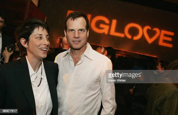 HBO's Carolyn Strauss and actor Bill Paxton talk at the afterparty for the premiere of HBO's Original Series Big Love at the Hollywood Roosevelt...