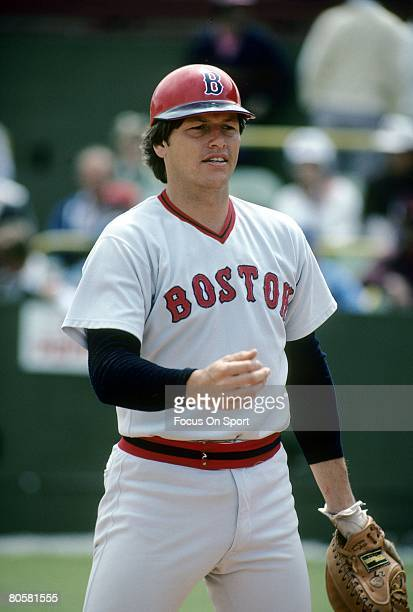 CIRCA 1970's Catcher Carlton Fisk of the Boston Red Sox on the field warming up before a MLB baseball game circa mid 1970's Fisk Played for the Red...
