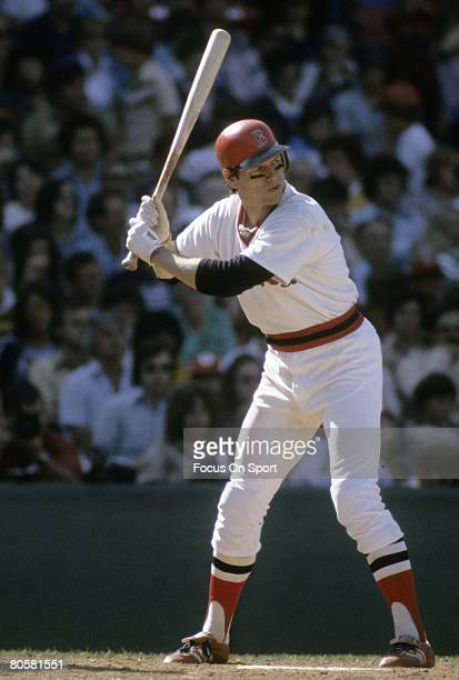 BOSTON MA CIRCA 1970's Catcher Carlton Fisk of the Boston Red Sox stand ready at the plate during a MLB baseball game circa mid 1970's at Fenway Park...