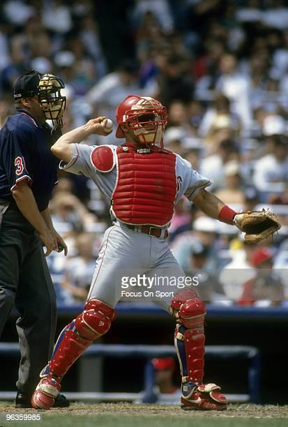 BRONX NY CIRCA 1990's Catcher Ivan Rodriguez of the Texas Rangers in action behind the plate against the New York Yankees during a circa mid 1990...
