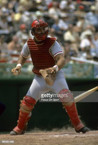 CIRCA 1970's Catcher Johnny Bench of the Cincinnati Reds in action at home plate during a MLB baseball game circa 1970's Bench Played for the Reds...