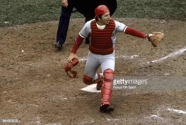 CIRCA 1970's Catcher Johnny Bench of the Cincinnati Reds in action at homeplate during a MLB baseball game circa 1970's Bench Played for the Reds...