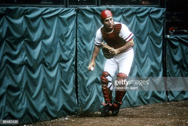 CINCINNATI OH CIRCA 1970's Catcher Johnny Bench of the Cincinnati Reds in action during a MLB baseball game circa late 1970's at Riverfront Stadium...