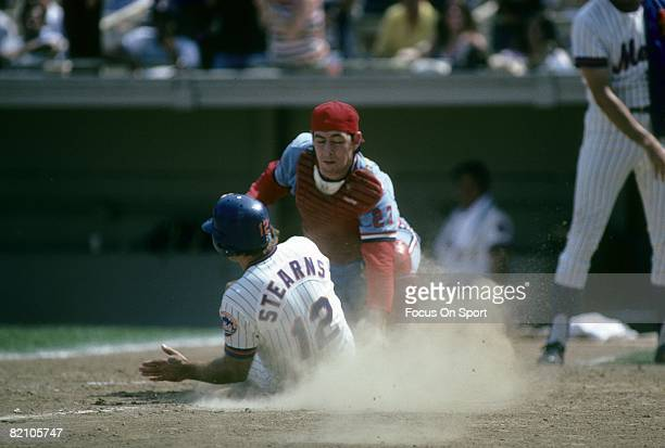 S: Catcher Ted Simmons of the St. Louis Cardinals puts the tag on New York Mets catcher John Stearns at home plate during a late circa 1970's Major...