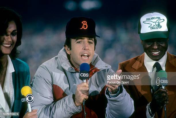 CIRCA 1970's CBS NFL Today Show crew Phyllis George Brent Musburger and Irv Cross on the air circa late 1970's during an NFL Football Game