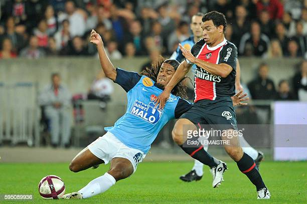 PSG's Ceara and Brest's Jhon Jairo Culma during the French First league soccer match Paris Saint Germain vs Brest at the Parc des Princes in Paris...