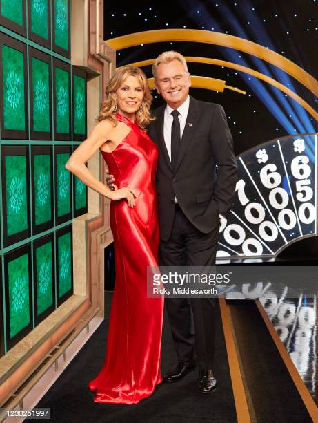 S Celebrity Wheel of Fortune stars Vanna White and Pat Sajak. (