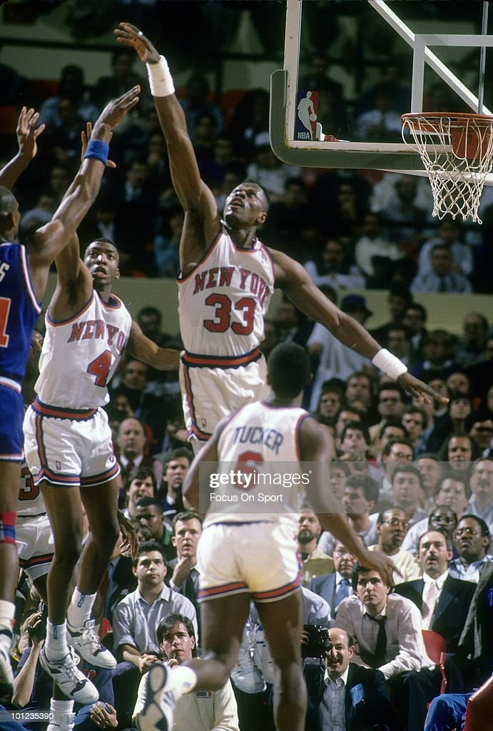 MANHATTAN, NY - CIRCA 1990's: Center Patrick Ewing #33 of the New York Knicks in action against the Cleveland Cavaliers circa early 1990's during an NBA basketball game at Madison Square Garden in Manhattan, New York. Ewing played for the Knicks from 1985-00.