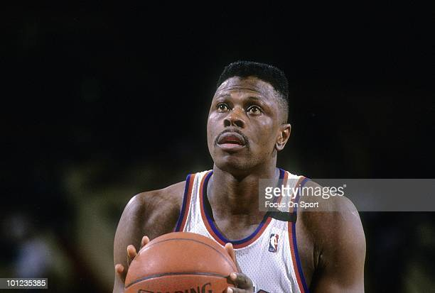 MANHATTAN NY CIRCA 1990's Center Patrick Ewing of the New York Knicks in this portrait at the freethrow line circa early 1990's during an NBA...