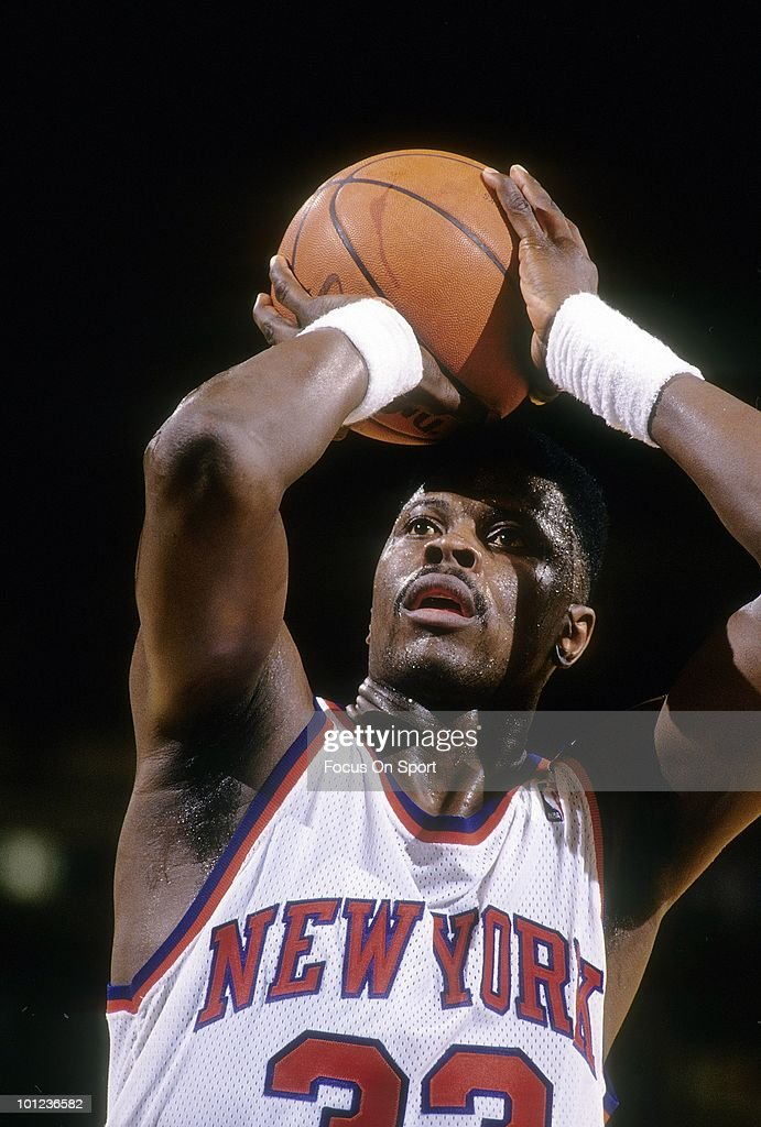 MANHATTAN, NY - CIRCA 1990's: Center Patrick Ewing #33 of the New York Knicks in this portrait at the free-throw line circa early 1990's during an NBA basketball game at Madison Square Garden in Manhattan, New York. Ewing played for the Knicks from 1985-00.