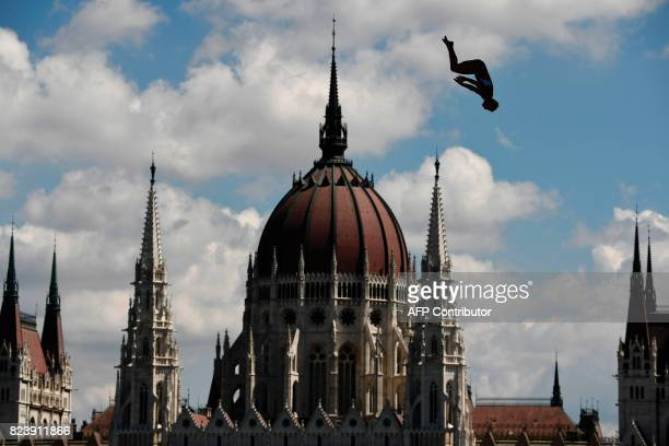 USA's Cesolie Carlton competes in round 1 of the women's High Diving competition at the 2017 FINA World Championships in Budapest on July 28 2017 /...