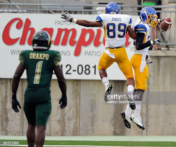 S Chandler Jones celebrates Jabari Carr's game-winning touchdown in the endzone. The Colorado State Rams football team takes on the San Jose State...