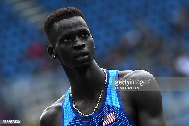 S Charles Jock looks at the results board after competing in the Men's 800m Round 1 heat during the athletics event at the Rio 2016 Olympic Games at...