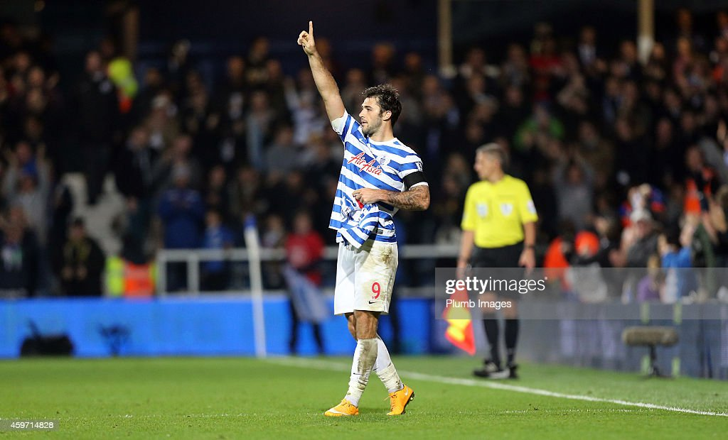 QPR's Charlie Austin celebrates his goal during the Barclays premier League match between Queens Park Rangers and Leicester City at Loftus Road on November 29, 2014 in London, England.