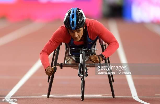 USA's Cheri Madsen wins the Women's 400m T54 first heat during day three of the 2017 World Para Athletics Championships at London Stadium