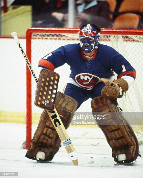 BOSTON MA 1970's Chico Resch of the New York Islanders tends gaoal in game against the Boston Bruins at Boston Garden